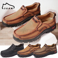 SGAM Mens Genuine Leather Shoes Hand Stitching Comfy Non-Slip Casual Loafers