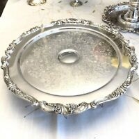 """MSRP $380 Rare Rotating Wallace Baroque Silverplate 13"""" Pedestal Cake Stand 245"""