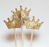 1 Set 24 Gold Glitter Crown Cupcake Toppers Wedding Picks Party BABY SHOWER Hot