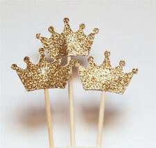 Gold 1 Set 24 Glitter Crown Cupcake Toppers Wedding Picks Party BABY SHOWER