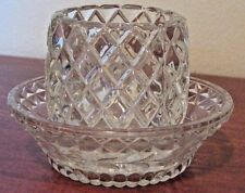 Homco Pressed Glass Votive Tea Light Holder Diamond Pattern w/ Underplate Clear