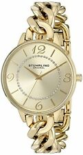 Stuhrling 588 04 Vogue Analog Gold Chain Quartz Bracelet Womens Watch