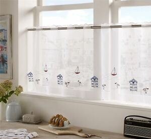 """BLUE RED BEACH HUTS SEAGULLS EMBROIDERED KITCHEN CAFE CURTAIN DRAPE PANEL59""""X18"""""""