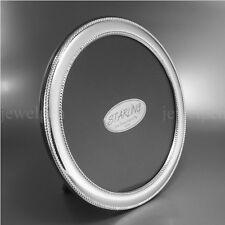 13x13 cm-CLASSICA TONDO Perl bordo cornice foto-massiccio 925 Sterling Argento