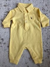 New Ralph Lauren Baby Boy Polo Soft Yellow Coverall Onepiece Size 0M 3M 0-3M