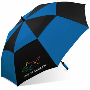 "Greg Norman Shark 60"" Double Canopy Folding 2-Person Golf Umbrella Vented EC"