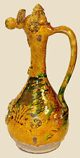 19TH C. LARGE TURKISH CANAKKALE GREEN-GLAZED POTTERY EWER