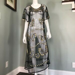 1920s Black Silk Flapper Dress Arts /& Crafts Style Embroidery Stunning 36 Bust