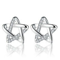 925 Sterling Silver Crystal Star Stud Earrings For Women Fashion Jewelry