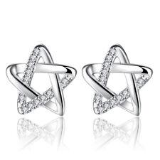 925 Sterling Silver Crystal Star Stud Earrings For Women Fashion Jewelry