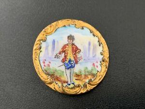 Antique Vintage Hand Painted Button Signed AP & CIE PARIS - BUTTON AUCTION #18