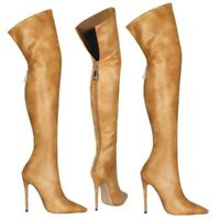 Women's Back Zipper Over The Knee High Boots Pointy Toe Stilettos Heels Shoes L