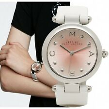 New Marc By Marc Jacobs MJ1407 Dotty Silver Tone White Leather Women's Watch