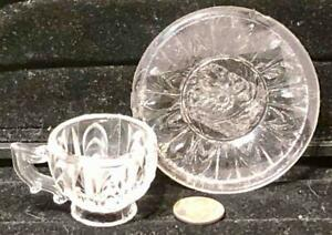 Antique Child's Toy  Clear Pressed Glass Handled Cup + Saucer, c. 1850