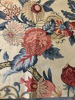 """Vintage Large Floral Cotton Fabric Upholstery 17"""" x 56"""" Remnant Quilt"""