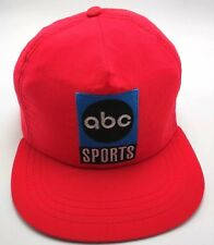 ABC SPORTS TV vintage lightweight neon red adjustable cap / hat - USA made
