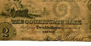 """$2 (COCHITUATE BANK) """"BOSTON"""" 1800'S $2 """"COCHITUATE BANK"""" 1800'S $2 NICE NOTE!!!"""