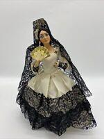 Vtg Boudoir Doll Spanish Black Lace Dress Composition Folk Mantilla