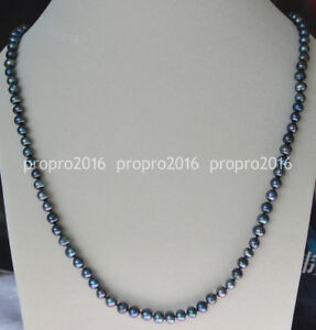 24inches Natural 6-7mm Black Tahitian Cultured Pearls Necklace PN1065