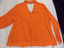 BNWT, ORANGE/RED BLOUSE, SIZE 18, V NECK WITH COLLAR, DRAWSTRING SLEEVES, FAB!!