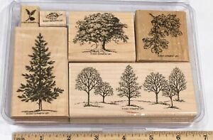 Stampin' Up! Lovely As a Tree set 6 Rubber Stamps Vintage 2001 Retired