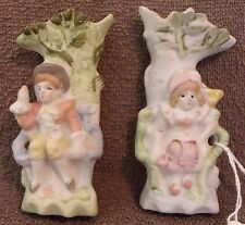 VINTAGE FIGURINES-1950's OCCUPIED JAPAN-PAIR OF COLONIALS IN TREES-HAND PAINTED!