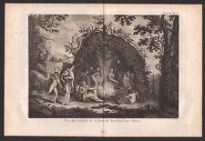 VUE DES INDIENS DE LA TERRE DE FEU DANS LEURS HUTTES Gravure Voyage de COOK 1774