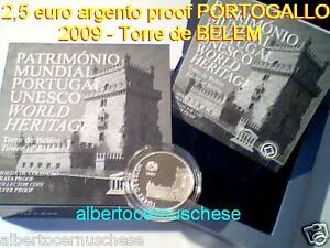 2,5 euro 2009 Ag Fs PP BE proof Portogallo Portugal Torre BELEM Португалия