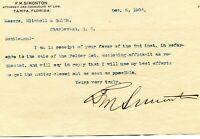 1904 F M SIMONTON ATTORNEY TAMPA FL LETTERHEAD & LETTER SIGNED BY SIMONTON