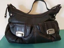 B. Makowsky Brown Leather Handbag Purse Pockets Silver Animal Print Lining