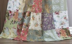 BLOOMING PRAIRIE WINDOW PANELS : COUNTRY LILAC ROSE COTTON FLORAL CURTAIN DRAPES