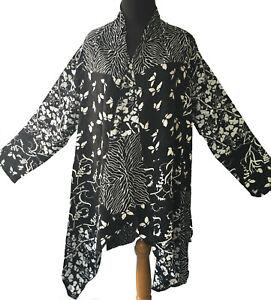 Batik Chic Waterfall Jacket 10 12 14 16 18 20 Black White Elegant Artsy Layering