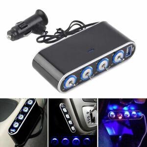4 Way 12V Multi Car Cigarette Splitter Lighter Socket USB Plug Charger Adapte