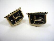 Vintage Cufflinks Cuff Links: Amazing Heraldic Lion Shield Castle Design
