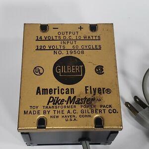Gilbert 19508 American Flyer Pike-Master Toy Transformer 14v-10 watts 1063