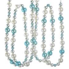 Kurt Adler Blue Silver White 5' Round Ball Bead Christmas Garland Set of 2