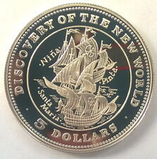 Bahamas 1992 Discover New World 5 Dollars Silver Coin,Proof
