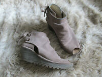 Fly London Taupe Suede Yema Open Toe Wedge Shoes women's size 9