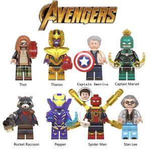 Avengers Endgame Thanos Pepper Captain America Marvel Stan Lee Building Blocks