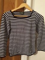 Hobbs Navy And White Striped Stretchy Top Size 10