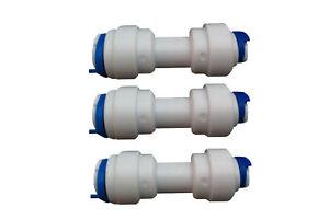 "1/4"" 6mm x 1/4"" 6mm Equal Straight Water Pipe Joiner Pushfit x3,Fridge,Aquarium"