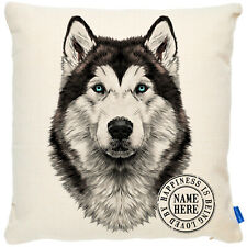 More details for personalised husky cushion cover portrait dog pillow pup birthday gift kdc23