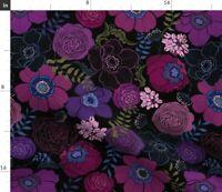 Purple Rossette Charmeuse Fabric Photo Prop Plum 3D Floral Fabric Wedding Decor 3D Rosette Satin Fabric Peony Bouquet Fabric on Tulle