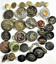 LOT OF 30+ ANTIQUE & VINTAGE FIGURAL & COLLECTIBLE BUTTONS, VICTORIAN TO 30'S