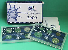2000 United States Mint ANNUAL 10 Coin Proof Set Original Box and COA As Issued