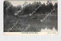 PPC POSTCARD MI MICHIGAN CHARLEVOIX RUSTIC BRIDGE