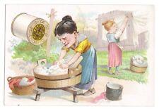 J.& P. Coats Six Cord Thread Woman Washing in Washtub Trade Card