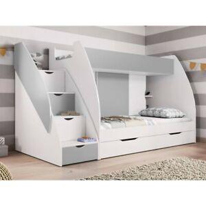 Hochbett Wang Modern Kinderzimmer Etagenbett Doppel Stockbett mit Bettkasten NEU