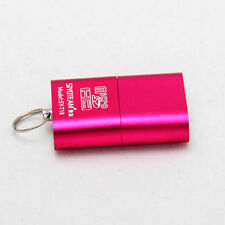 Mini High Speed USB 2.0 Micro SD T-Flash Memory Card Reader Adapter Pink Keyring