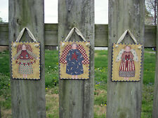 Susan Winget Angels Wooden Wall Hanging Plaques Primitive Country Set of 3
